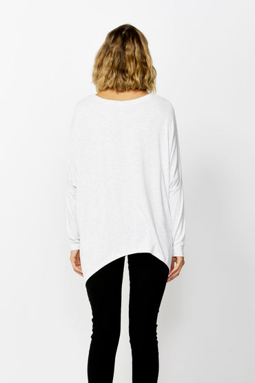 Betty Basics Geneva V-Neck Top in Heather Grey