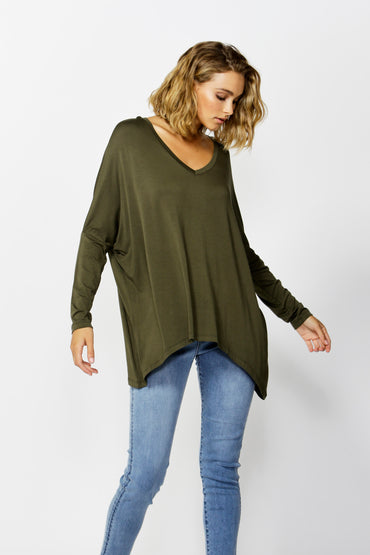Betty Basics Geneva V-Neck Top in Olive