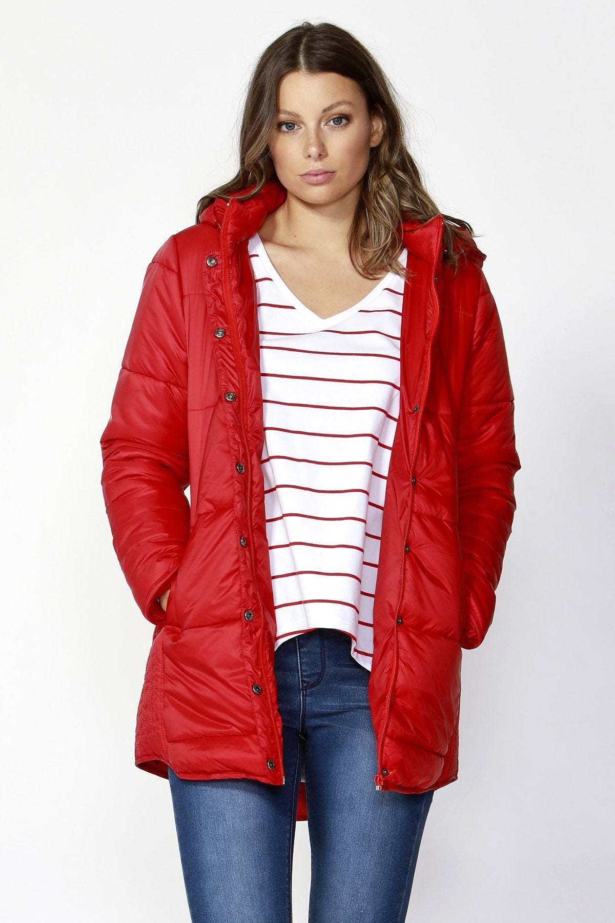Betty Basics Ashton Long Puffer Jacket in Lava Red