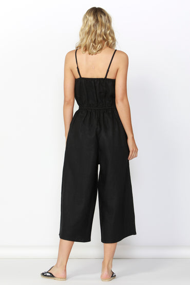 Betty Basics Finn Linen Jumpsuit in Black Size 10 ONLY