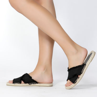 Betty Basics Seeker Espadrille Slide in Black SIZE 6 ONLY