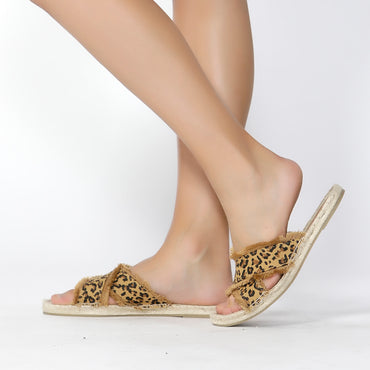 Betty Basics Seeker Espadrille Slide in Leopard