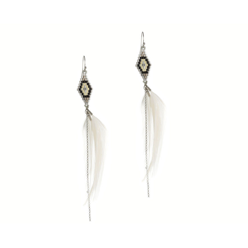 Gala Boho Earrings with Bead work and fine White Feather