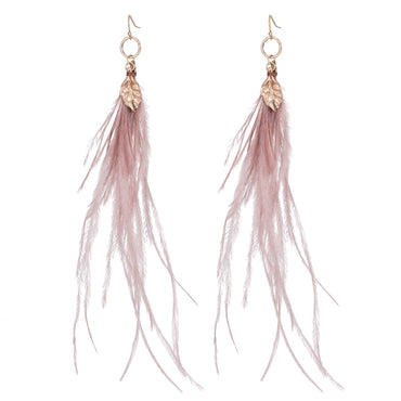 Blue Scarab Inca earring with Rose Pink feather and Gold detail