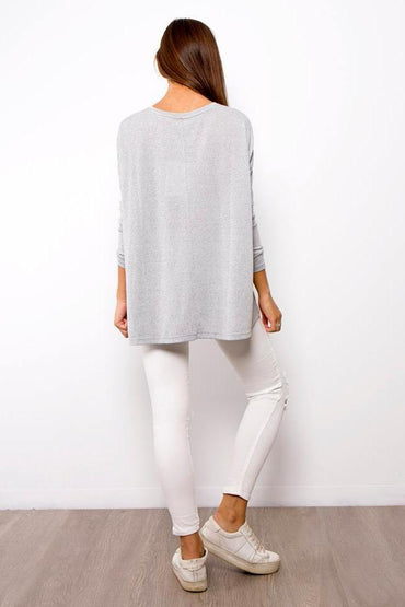 Long Sleeve Swing Jumper in Grey
