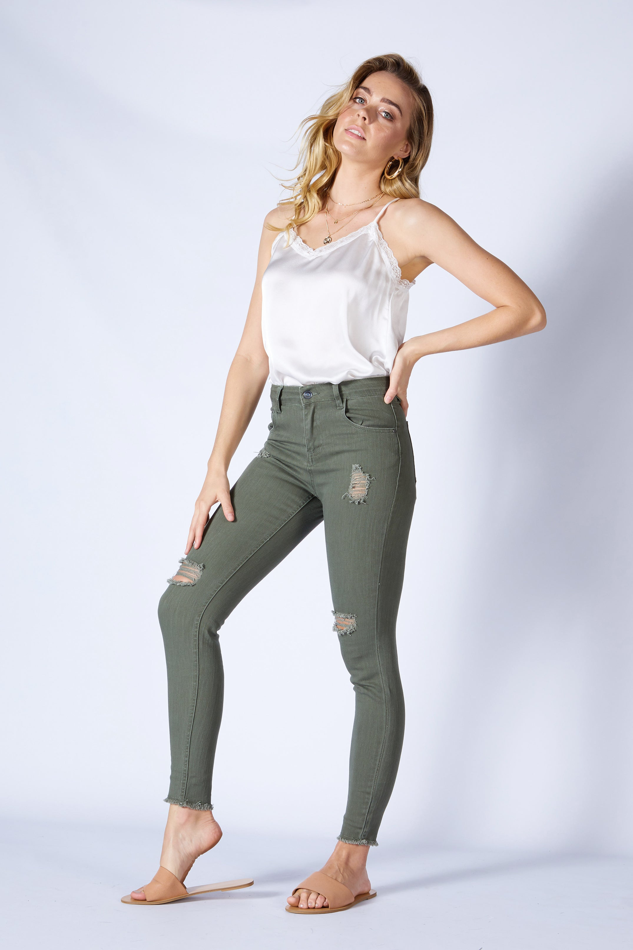 Sass Angus Ripped Denim Skinny Jeans in Sage Green Size 10 ONLY