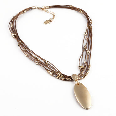 Lotus Serenity Necklace in Tan and Gold