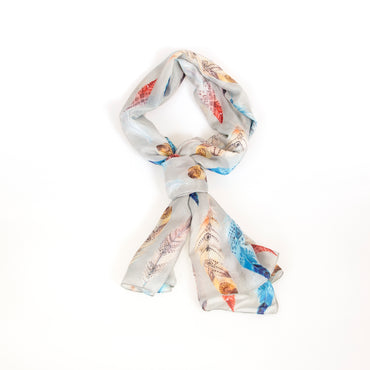Pocahontas Pure Silk Scarf in Boho feather print on grey