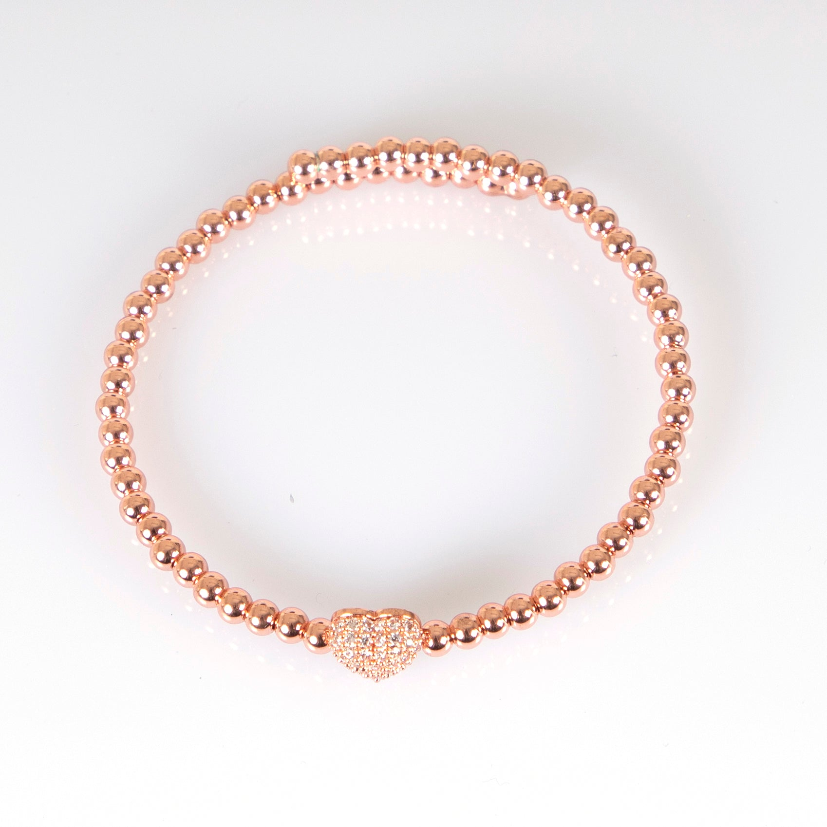 Olive and Tiger River Heart Open Cuff Bangle in Rose Gold