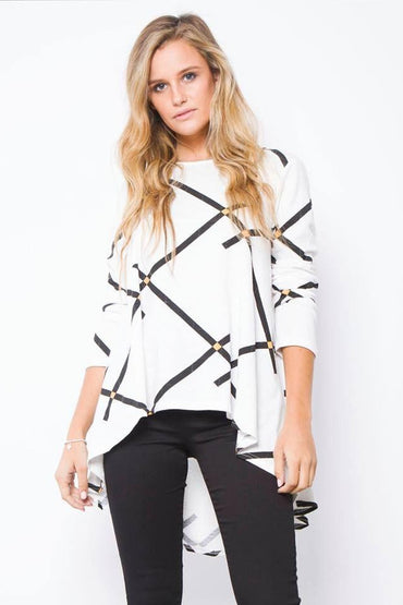 Leoni White High Low Hemline Zig Zag Top