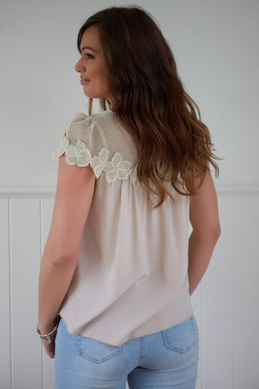 Ava Ruby Embroidered Top in Beige - Hey Sara