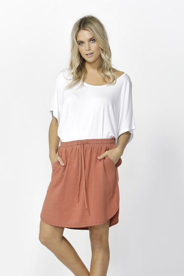 Betty Basics Arlo Linen Skirt in Rose - Hey Sara