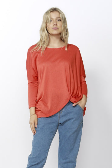 Betty Basics Atlanta 3/4 Sleeve Top in Tangerine Sizes 6 or 8 - Hey Sara