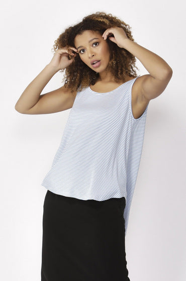 Betty Basics Boston Tank Top in Sky White Stripe Size 8 or 10 - Hey Sara