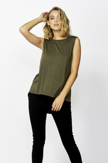Betty Basics Capri Tank in Olive size 8 ONLY - Hey Sara