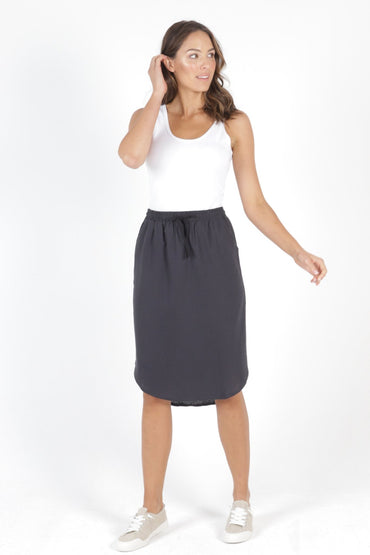 Betty Basics Carson Linen Skirt in Indi Grey - Hey Sara