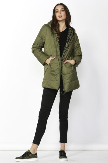 Betty Basics Carter Reversible Puffa Jacket in Moss size 8 ONLY - Hey Sara
