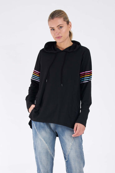 Betty Basics Colbie Hoodie in Black Rainbow Trim - Hey Sara