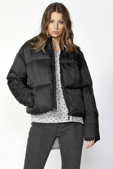 Betty Basics Dylan Cropped Puffer Jacket in Black - Hey Sara