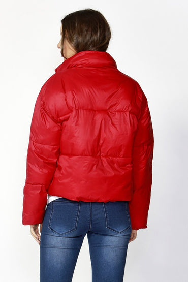 Betty Basics Dylan Cropped Puffer Jacket in Lava Red - Hey Sara