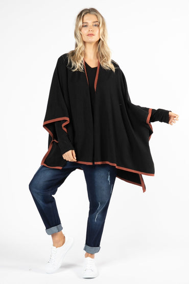 Betty Basics Erin Multi Cape in Black / Terracotta - Hey Sara