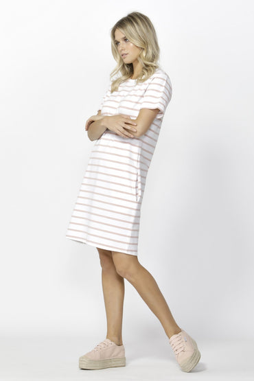 Betty Basics Gwen Tee Dress in White with Blush Stripe - Hey Sara