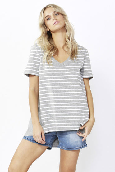 Betty Basics Hannah V-Neck Tee in Silver Stripe Sizes 8 or 10 - Hey Sara