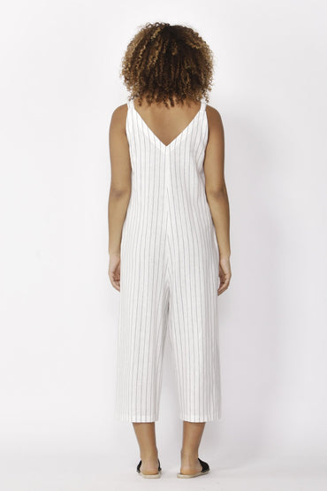 Betty Basics Hendrick Jumpsuit in White Pinstripe - Hey Sara