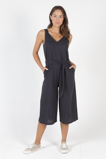 Betty Basics Joey Linen Jumpsuit in Indi Grey - Hey Sara