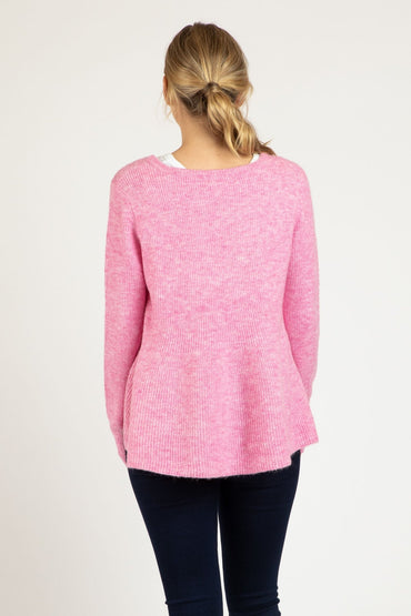 Betty Basics Lexi Knit Jumper in Floss Pink - Hey Sara