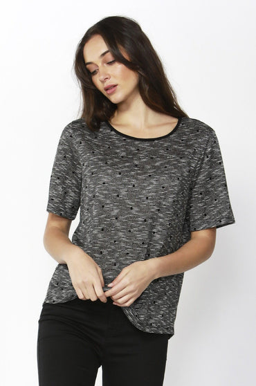 Betty Basics Los Angeles Tee in Melange Spot Size 8 or 14 - Hey Sara