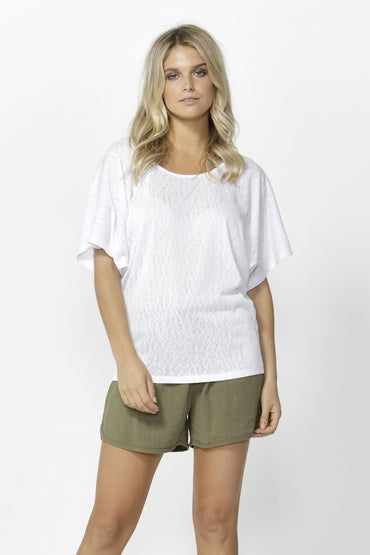 Betty Basics Maui Tee in Flocked White Size 8 ONLY - Hey Sara
