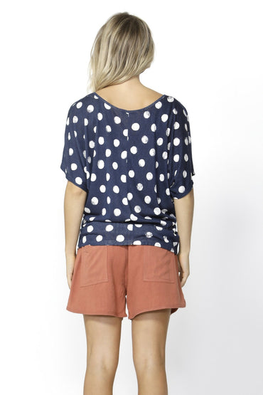 Betty Basics Maui Tee in Ink with White Spot Sizes 6 Only - Hey Sara