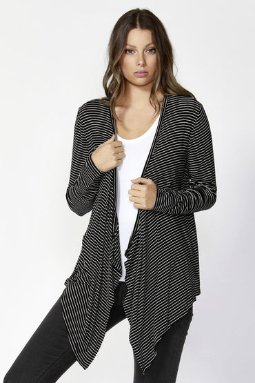 Betty Basics Melbourne Cardigan in Black White Stripe 8 or 10 Only - Hey Sara