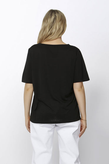 Betty Basics Messina V-Neck Tee in Black Sizes 6 8 or 10 - Hey Sara