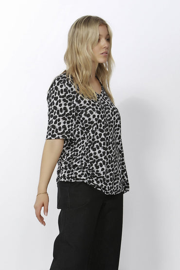 Betty Basics Messina V-Neck Tee in Leopard Print Sizes 6 or 8 Only - Hey Sara