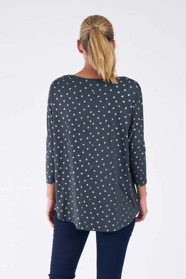 Betty Basics Milan Top in Thyme Swallow Print - Hey Sara