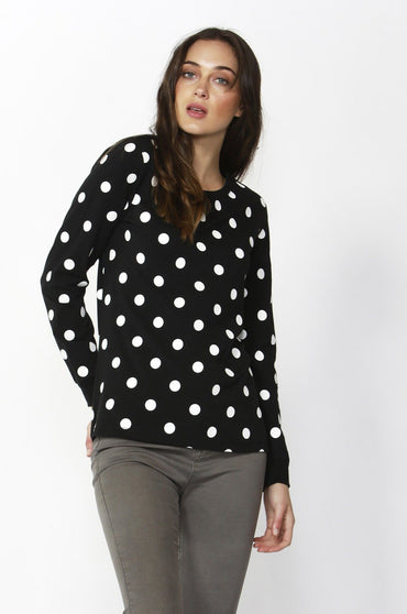 Betty Basics Millie Top in Black with White Polka Dot - Hey Sara