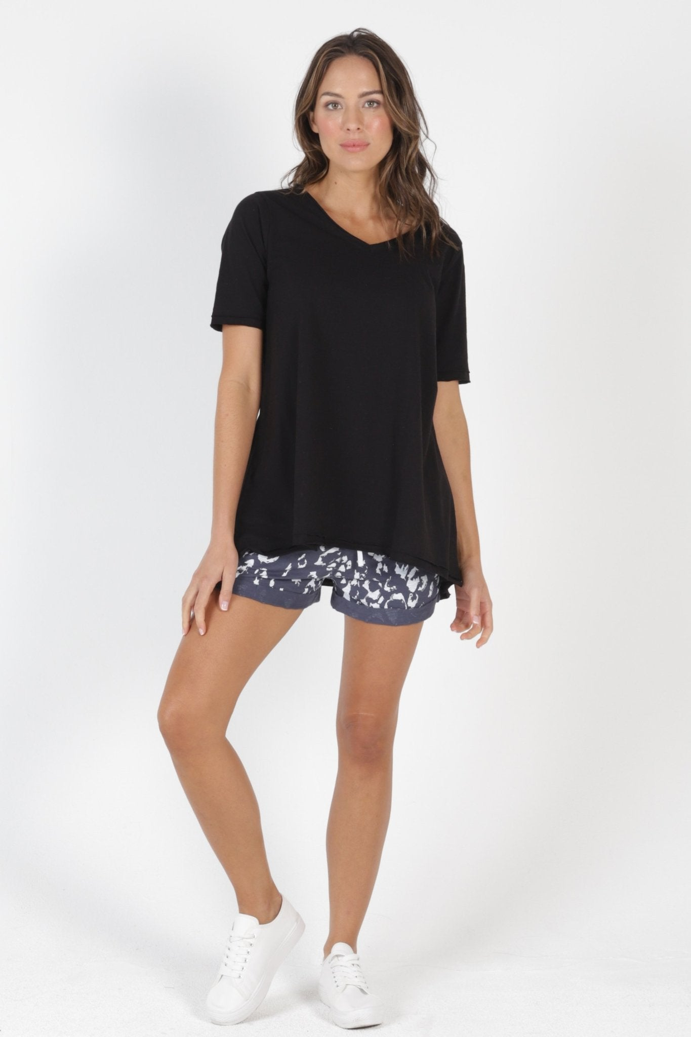Betty Basics Noosa V-Neck Tee in Black - Hey Sara