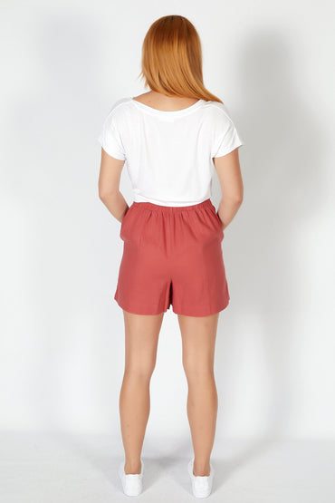 Betty Basics Peyton Linen Short in Berry - Hey Sara