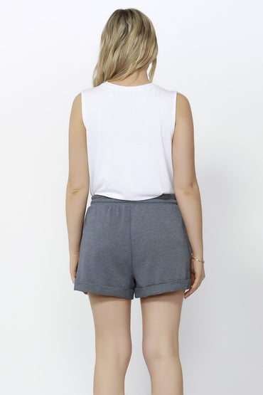 Betty Basics Porter Track Short in Slate Blue - Hey Sara