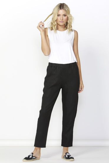 Betty Basics Rocco Linen Pant in Black LAST ONE Size 8 - Hey Sara
