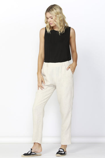 Betty Basics Rocco Linen Pant in Natural - Hey Sara