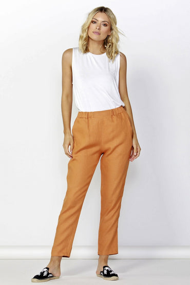 Betty Basics Rocco Linen Pant in Rust Size 8 or 14 Only - Hey Sara