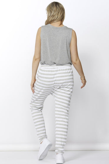 Betty Basics Saxon Sweat Pants in White Grey Stripe Size 6 ONLY - Hey Sara
