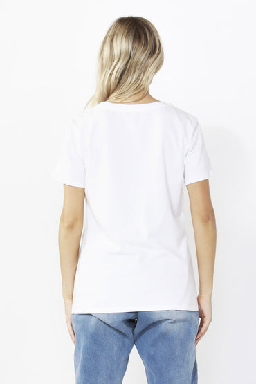 Betty Basics Sequin Cara Tee in White Size 8 ONLY - Hey Sara