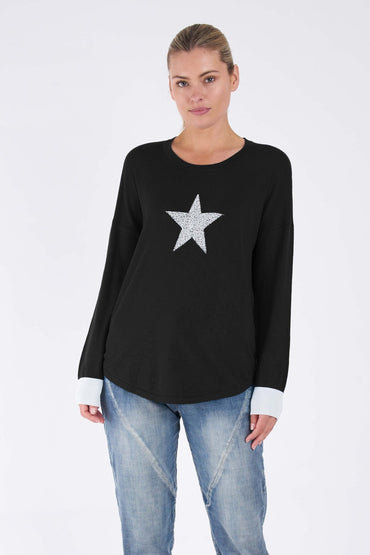 Betty Basics Sophie Knit Jumper in Black Star - Hey Sara