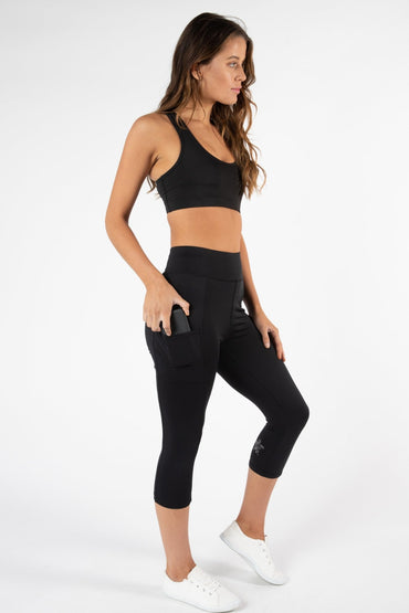 Betty Basics Sprint Crop Leggings in Black - Hey Sara