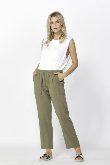 Betty Basics Watson Linen Pant in Khaki - Hey Sara