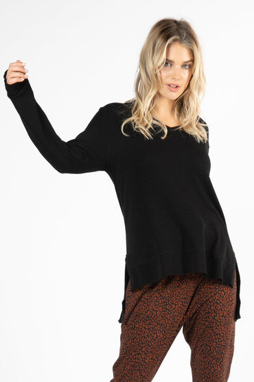 Betty Basics Zara Waffle Long Sleeve Top in Black Size 8 or 10 - Hey Sara